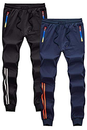 GEEK LIGHTING Men's Active Soccer Training Pants Casual Gym Jogger Sweatpants with Pockets & Zipper Legs