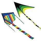 2Pack Kites for Kids, Large Kites for Kids Easy to Fly Beach Kite, Huge Rainbow Kite + Delta Kite for Kids, Great Beginner Kites for Kids Age 4-8 & 8-12, Easy to Soars High