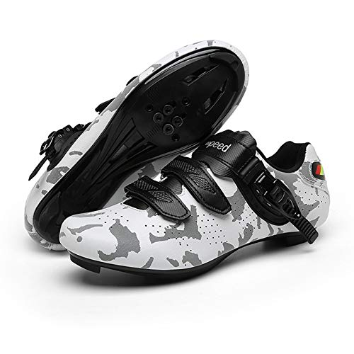 Tmpty Cycling Shoes For Men And Women Discoloration Self-locking Bicycle Road Cycling Riding Shoes For Indoor And Outdoor Cycling (Color : Gray-Mountain, Size : 6.5)