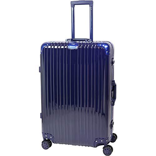 スーツケース キャリーケース キャリーバッグ アルミフレーム TSAロック 軽量 静音 ダブルキャスター 4輪タイヤ トランク 旅行かばん 旅行 出張 帰省 ビジネス 海外旅行 Lサイズ Sサイズ 【】 (L 80L, ネイビー 紺)