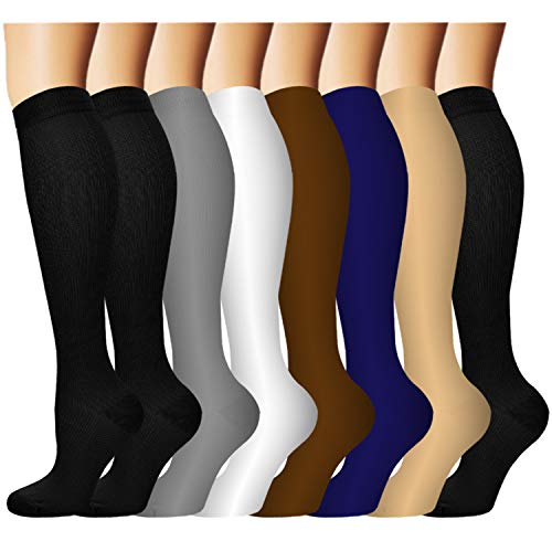 Compression Socks For Men & Women Circulation-Best For Medical Running Hiking Cycling 15-20 mmHg(S M)