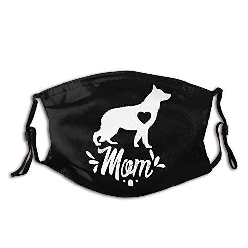 Máscara facial de perro pastor alemán, antipolvo, ajustable, lavable, reutilizable, para hombres y mujeres con 2 filtros
