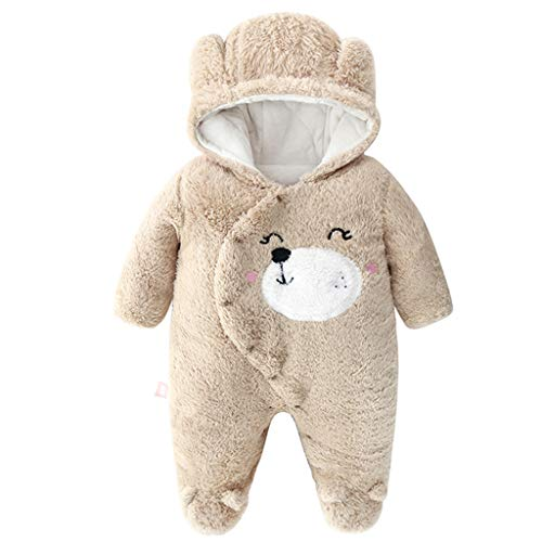 Baby mit Kapuze Strampler Winter Overall Flanell Outfits Jungen Mädchen Pyjama SäUgling Spielanzug Footies Outwear Braun 3-6 Monate