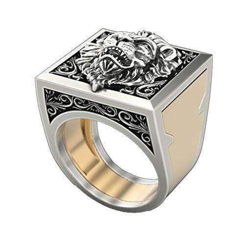 Hommes Lion bague en argent Lion King Secret Kingdom cercueil anneaux Punk Rock gothique bijoux pour cadeau de fête