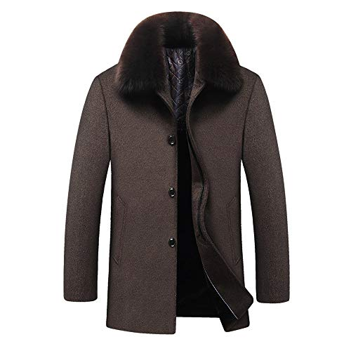 YOUTHUP wintermantel heren kort business regular fit fleece mantel dufflecoat met vacht opstaande kraag