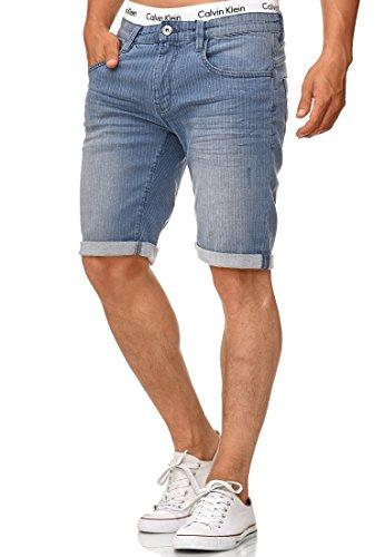 Indicode Herren Caden Jeans Shorts mit 5 Taschen aus 98% Baumwolle   Kurze Denim Stretch Hose Used Look Washed Destroyed Regular Fit Men Short Pants Freizeithose f. Männer Light Indigo XL