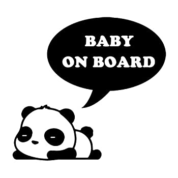 15.3X14.3CM Sleeping Panda Cute Cartoon Car Sticker BABY ON BOARD Personality Decal Accessories C25-0295 - Black