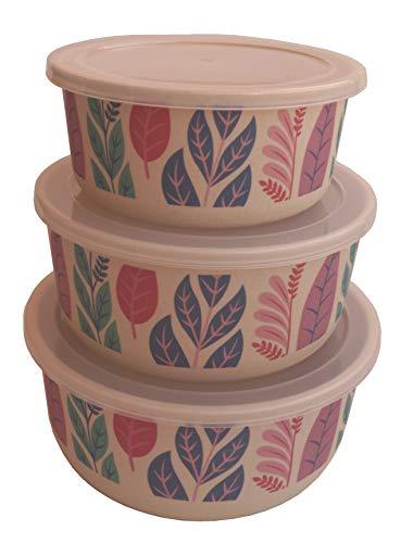 Tuper de Bambu 3 Tupers de Fibra de Bambú Ecologicos - Material Organico, Reciclable, Biodegradable - Apto Lavavajillas - Resistente y Ligero - Eco, Bio, sin BPA ni Plastico - Taper Color Hojas