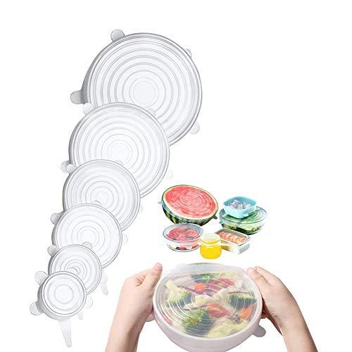 Coperchio in silicone, coperchio per alimenti, coperchio in silicone elasticizzato, espandibile per adattarsi a varie forme di contenitori, stoviglie, ciotole, forni a microonde e frigoriferi,Clear,thick
