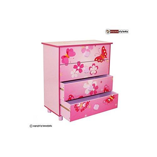 Commode Enfant 4 tiroirs meubles bois Papillon