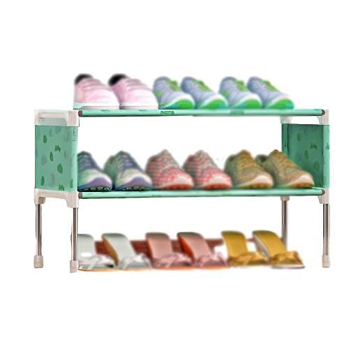 PTY Zapatero 2-Capa de Zapatero, Ensamblado de Zapatos a Prueba de Polvo del gabinete, Simple Rack de Almacenamiento de Hierro (Color : Green Lemon)