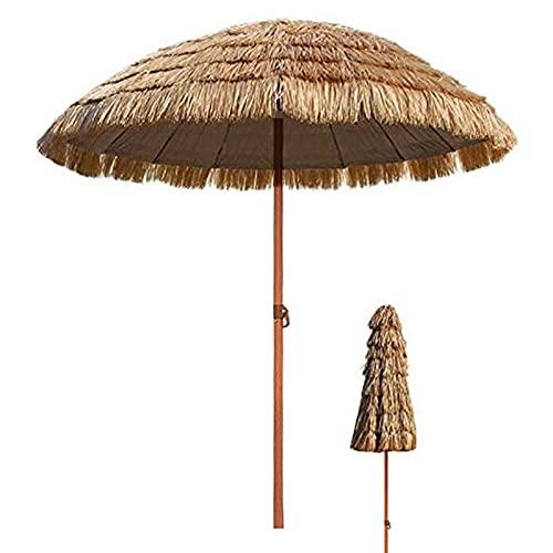 WXHXJY Parasol De Plage Hawaïen De Chaume,Parasols Paille Angle Inclinaison RéGlables, Parasol Raphia DéCoration Jardin Patio Plage - Couleur Naturelle,3m/9.8ft