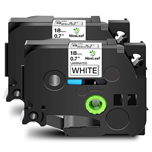 NineLeaf 2 Pack Compatible Label Tape Replacement for Brother P-Touch TZe-241 TZe241 TZ-241 TZ241 18mm Black on White Standard Laminated Label Tape Work with Ptouch Label Maker 0.7 Inch x 26.2 feet