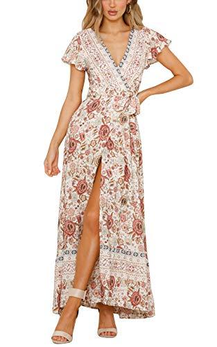 Cindeyar Kleider Boho Sommerkleid V-Ausschnitt Damen Vintage Strand Blumen Maxikleid Kurzarm Strandkleid Lang mit Schlitz (Large, Beige-1)