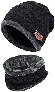 Black 2-Pieces Winter Beanie Hat Scarf Set Warm Knit Hat Thick Fleece Lined Winter Hat & Scarf For Men Women For Men
