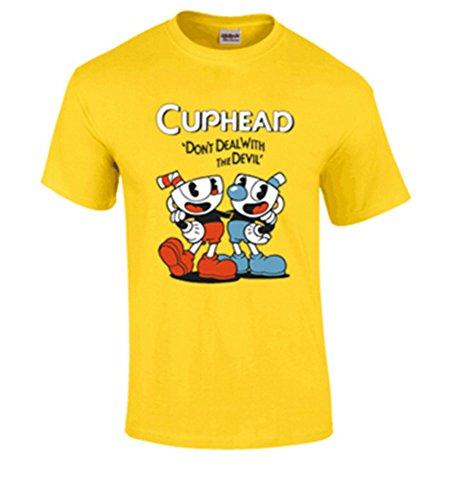 Cuphead T-Shirt Short Sleeve T Shirts Cuphead Cosplay Costume Yellow Shirt M