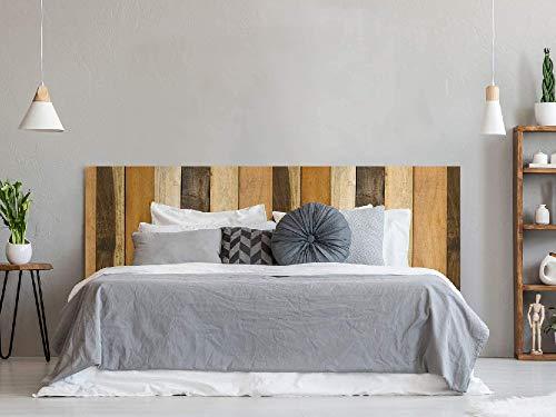 Cabecero Cama PVC Textura Antiguo Recto Vertical Madera 100x100cm | Disponible en Varias Medidas | Cabecero Ligero, Elegante, Resistente y Económico