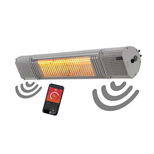 Heat Outdoors Heat and Beat Infrared Patio Heater - 2.0 kW Mounted Fixed Outdoor Heating Unit, Bluetooth Speakers, Backlit LED System - IPx5 Waterproof, Parabolic Reflector, Safety Guard