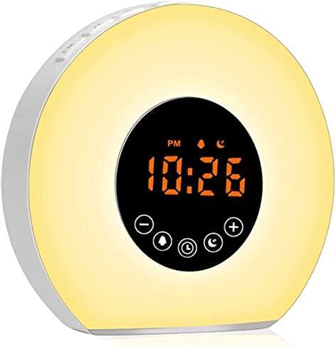 otutun Radio Réveil Matin , LED Lampe de Chevet avec 7 Sons Naturels et 20 Alarmes Luminosité Programmables , Simulation du Lever et du Coucher de Soleil pour Enfants&Adultes [Classe énergétique A+]