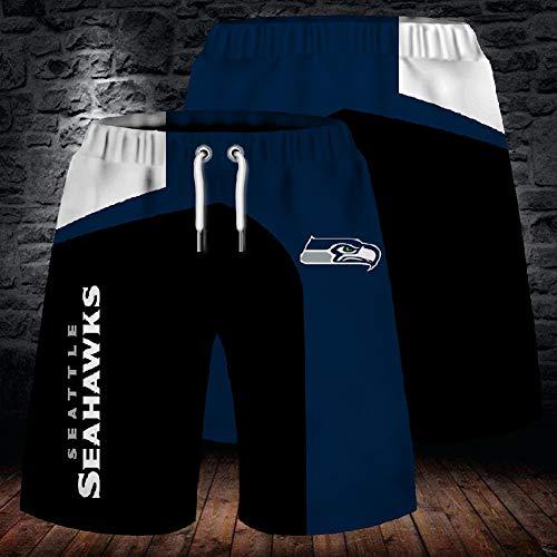 NFL Sommer Herren Shorts, Seattle Seahawks Strandhose, 3D gefärbte und gefärbte atmungsaktive Stretch Trainingshose für Outdoor Training und Laufen