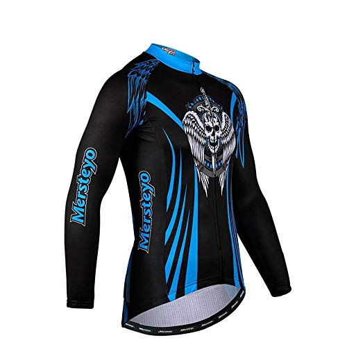 TONGDAUR Trikots Fahrrad Reitanzug Outdoor Ghost Print Langarm Shirt Fitness Atmungsaktive Fahrrad Reitbekleidung (Color : Black, Size : XL)