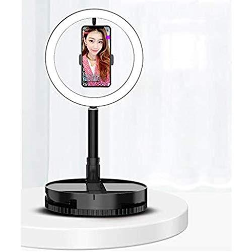 Desktop LED-ringlicht, 3 kleurenmodi en 10 helderheid, opvouwbaar halolicht met spiegel voor Facebook Living Stream Zelfportret Schieten Camera Ring Make-uplicht