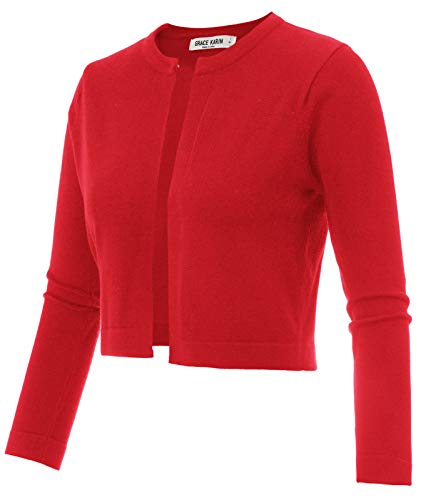 3/4 Sleeve Cropped Knit Shrug Cardigan for Dress Cami Red Size M CL942-4