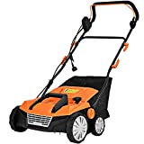 Auténtico Orange 15' 13Amp 2-in-1 Function Corded Electric Scarifier Lawn Dethatcher Walk-Behind Lawn Mowers Electric Weeder with 50L Collection Bag 2 Blades 4 Adjustable Position Foldable Design