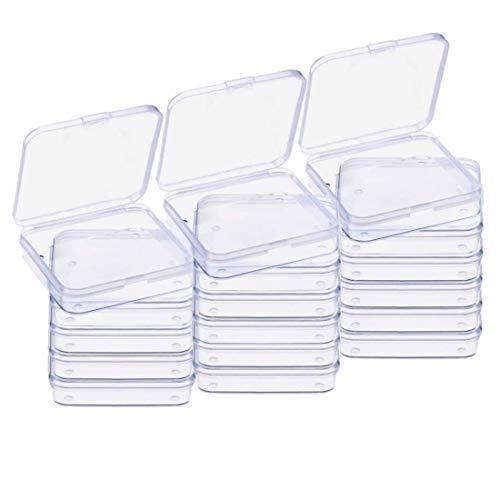 Gebildet 18 Packung Leere Mini-Aufbewahrungsbehälter aus Transparentem Kunststoff mit Deckel für Kleine Gegenstände und Andere Bastelprojekte
