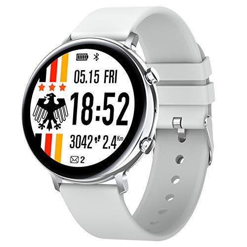 HQPCAHL Smartwatch, Fitness Armband Tracker Voller Touch Screen Uhr Pulsmesser Wasserdicht IP68 Armbanduhr Smart Watch Mit Schrittzähler Stoppuhr Bluetooth Sportuhr Für Ios Android Damen Herren,Weiß
