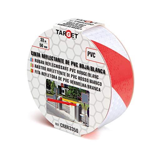 Cinta Reflectante - TARGET - Roja y blanca 33m x 50mm - Cinta adhesiva - Advertencia - Señalización - Marcaje - Alta visibilidad - Peligro - Seguridad - CRBR3350