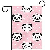 Bandera de jardín de doble cara/28x40in/Banderas de la bandera de la casa de bienvenida de poliéster,Panda patrón MOE rosa panda serie