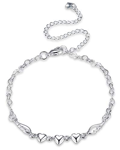 Cutesmile Fashion Jewelry 925 Sterling Silver Love Heart Angel Wings Chain Anklet