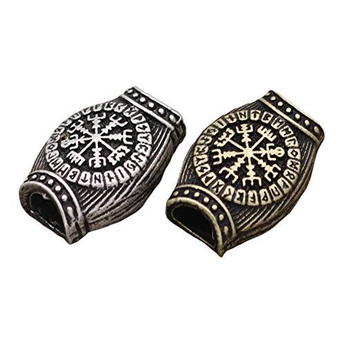 CAMORNY Viking Kralen Brons Noordse Baard Kralen Ring Gevlochten Haar Kralen Hanger Armband Sleutelhanger Mes Lanyard Rits DIY Handgemaakte Kralen