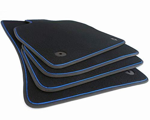 kh Teile Fußmatten passend für Golf 7 R-Line Zubehör Tuning Automatten Velours schwarz 4-teilig Zierband blau
