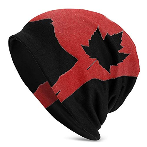 Happy Canada Day Elch Maple Leaf Png Strickmütze Mütze Mütze Wintermützen Hüte Cuffed Plain Skull Cap für Männer Frauen Weihnachten