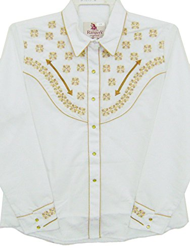 Modestone Women's Embroidered Long Sleeved Fitted Western Camicia Cowboy Embroidered White