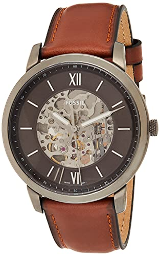 Fossil Herren Analog Automatik Uhr mit Leder Armband ME3161