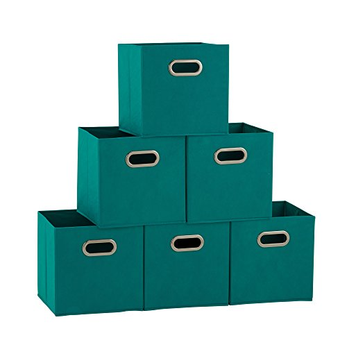 Household Essentials 83-1 Foldable Fabric Storage Bins | Set of 6 Cubby Cubes with Handles | Aqua, 6 lbs, 6 Count