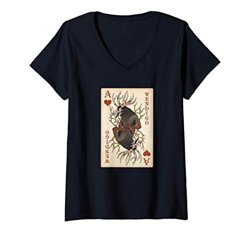 Mujer Wendigo - Original Cryptid Playing Card Tarot Ace of Hearts Camiseta...