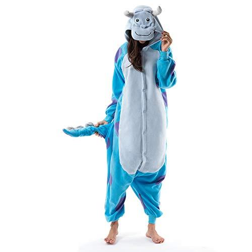 Beauty Shine Unisex Adult Animal Sulley Sullivan Halloween Costume Plush Pajamas (L, Sulley Sullivan)