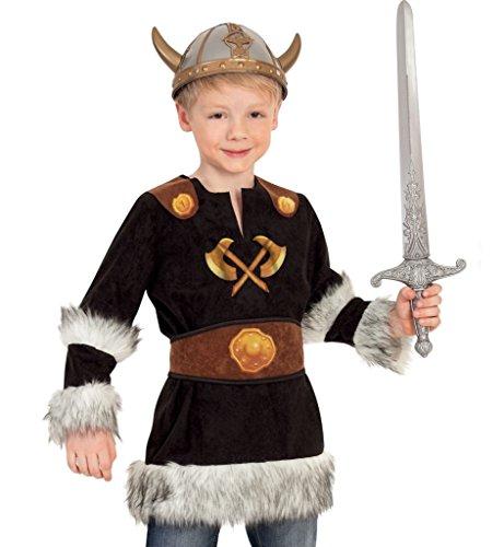 KarnevalsTeufel Kostüm Set Wikinger für Kinder mit Helm und Schwert Größe 104-128 (128)