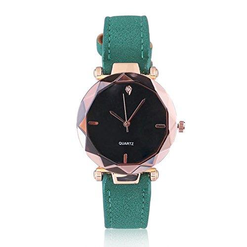 Reloj de pulsera analógico de cuarzo con correa de PU redonda y decoración de diamantes de imitación