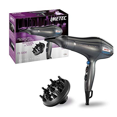 Imetec Salon Expert P3 3200 - Secador de pelo profesional, 2200W, rejilla con revestimiento de cerámica, tecnología de iones, 8 combinaciones de aire y temperatura