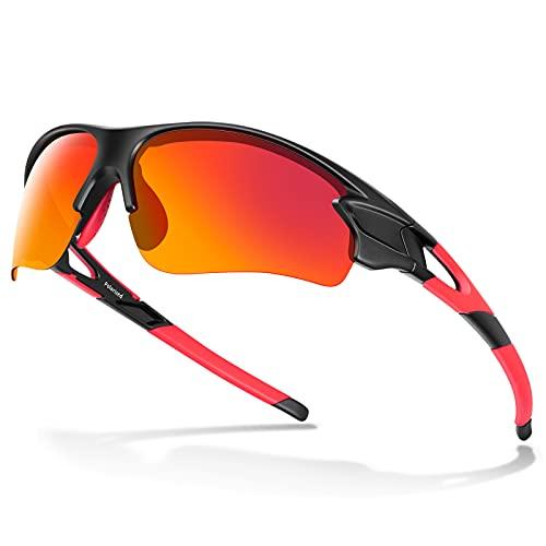 Gafas de Sol Polarizadas - Bea·CooL Gafas de Sol Deportivas Unisex Protección UV con Monturas Ligeras para Esquiando Ciclismo Carrera Surf Golf Conduciendo (Negro rojo)