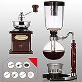 Chunjiao Molinillo de café manual -Siphon Coffee Pot Set Coffee Sifón Totem Zodiaco Snake Sifón Jarra de jarra Cafetera 3 tazas, 110 * 352mm Máquinas de café de vacío Maquina de cafe