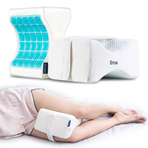 Elviros Knee Pillow for Side Sleepers with Cooling Gel Memory Foam, Orthopedic Leg Pillows Support...