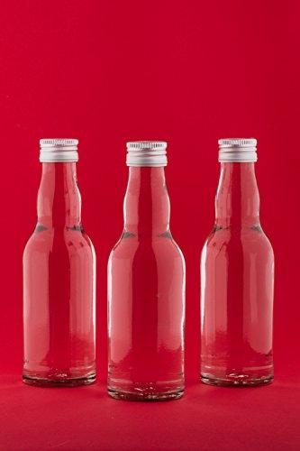 SLK Lot de 10 flacons en verre vides à goulot élargi avec fermeture à vis pour jus de fruits, vin, liqueurs, eau de vie, vinaigre, huile 18,5 cm 200 ml