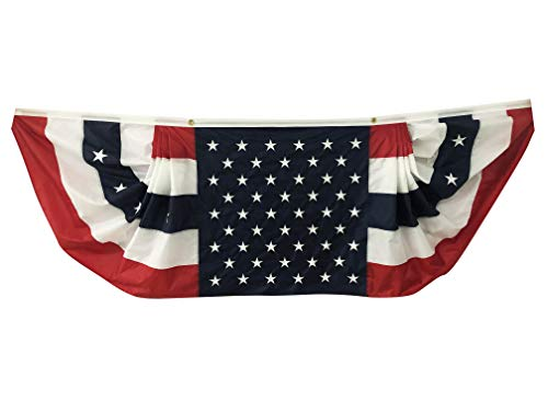 Patriotic Bunting Banner American Flag - 3' x 9' Pleated Fan Flag, 50 Stars, Veterans Day, USA, President's Day, Red White Blue Outdoor Décor, Little League Decor, Election, Memorial Day, 4th of July