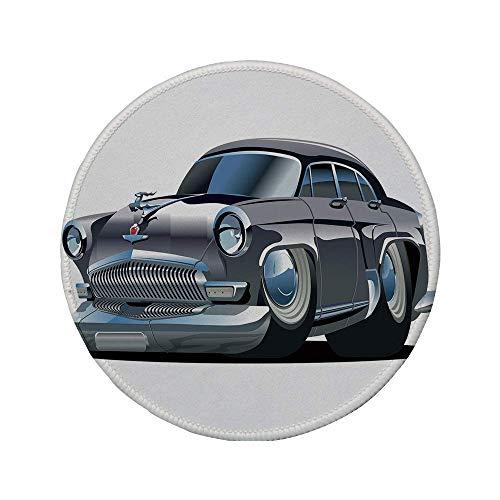 Rutschfeste runde Mauspads aus Gummi Autos Retro-inspiriertes Autodesign mit asymmetrischen Reifen Schnelle Autogeschwindigkeit Cooles Logo Dekorativ Silber Dunkelgrau 7.9